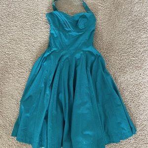 Girl from Savory Anthropologie teal halter Dress